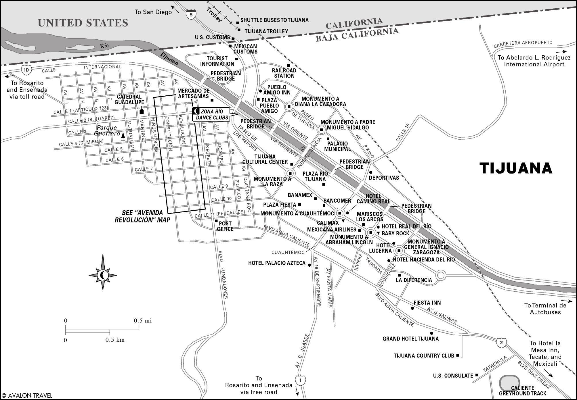 Printable Travel Maps Of Baja Moon Travel Guides - Google maps us border to rosarito mexico