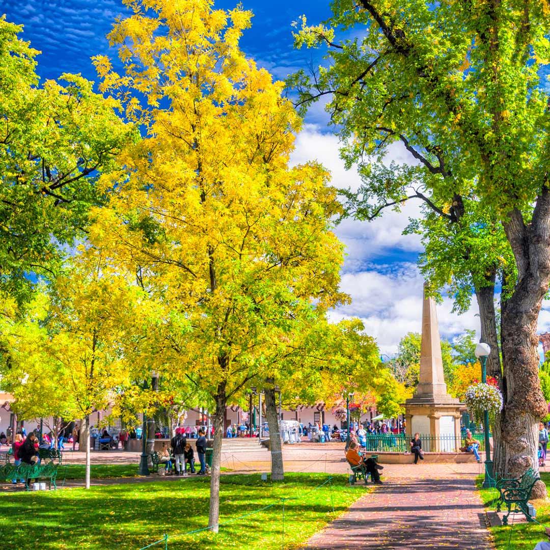 The plaza in downtown Santa Fe, New Mexico. Photo © Thomas Fikar/123rf.